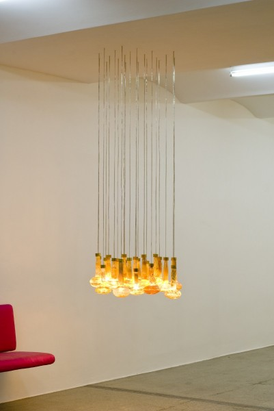 Mushroom Chandelier, 2010, Glass, brass, metal wire, LED lights, 22 pieces, 109 x 70 x 80 cm