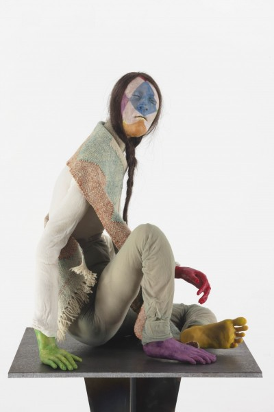 Music Teacher, 2013, Modelling material, fabric, steel and wire armature, human hair and paint, 51.1 x 56 x 41 cm
