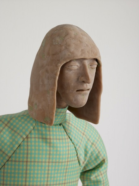 Potato Seller, 2012, Modelling material, foil, wire, paint, fabric, 110.5 x 36 x 27 cm