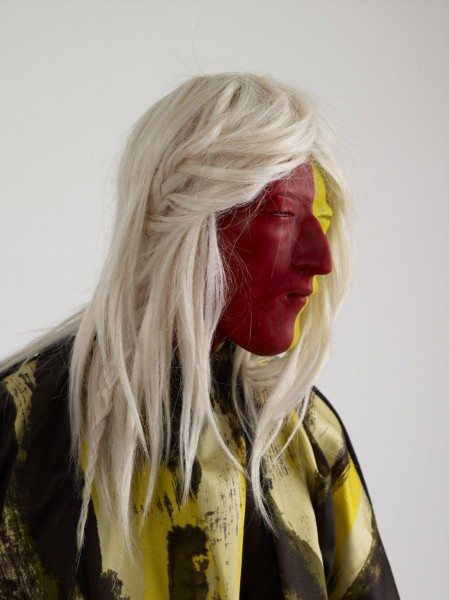 Yellow & Black Gown, 2012, Modelling material, foil, wire, paint, fabric, human hair, 127 x 48.25 x 28 cm