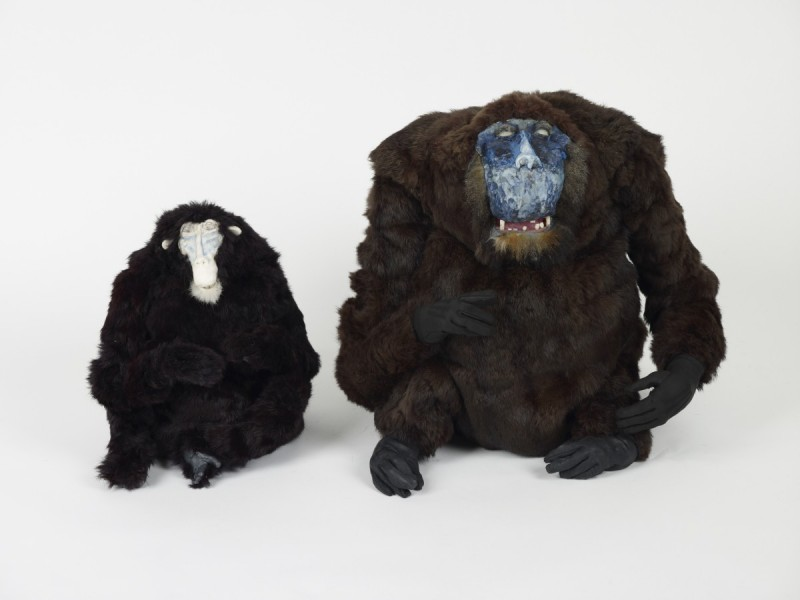 (l.r.) Mask Monkey, 2009, Fur, leather, modelling materials, 35.8 x 33.8 x 37.4 cm and Ug Monkey, 2009, Fur, leather, modelling materials, 51.1 x 61.4 x 60.7 cm
