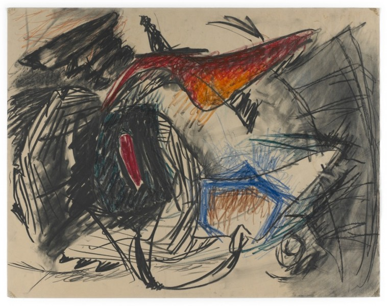 Lee Lozano, untitled, ca. 1961, charcoal, crayon and graphite on paper, 44.5 x 57 cm, copyright Estate Lee Lozano, courtesy Hauser & Wirth