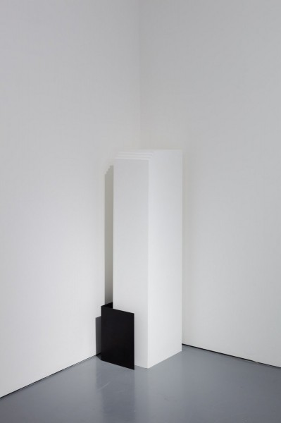 Haris Epaminonda, Untitled #04 t/a, metal structure, wooden plinth, 2014, Rowing, London. Photo:  Plastiques photography