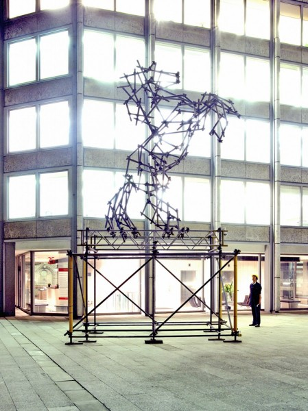 Ben Long, Horse Scaffolding Sculpture, installation view, The Economist Plaza, London, 2009. Photo: the artist