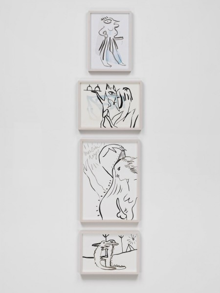 "Camille Henrot, ""Tropics of Love"", 2010-2012. 2 Chinese ink on inkjet prints and 2 Chinese ink on paper, Part 1: 29.2 x 41.9 cm / 31.1 x 22.5 cm (framed), Part 2: 29.2 x 20.3 cm / 25.7 x 33.3 cm (framed), Part 3: 20.3 x 29.2 cm / 43.5 x 31.1 cm (framed), Part 4: 24.1 x 30.5 cm / 22.5 x 31.1 cm (framed), Unique edition. Courtesy the artist and Metro Pictures, New York"