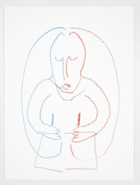 "Camille Henrot, ""Drawing with Both Hands"". Red and blue crayon on paper, 50.8 x 38.1 cm / 57.8 x 45.1 cm (framed). Courtesy the artist and Metro Pictures, New York"