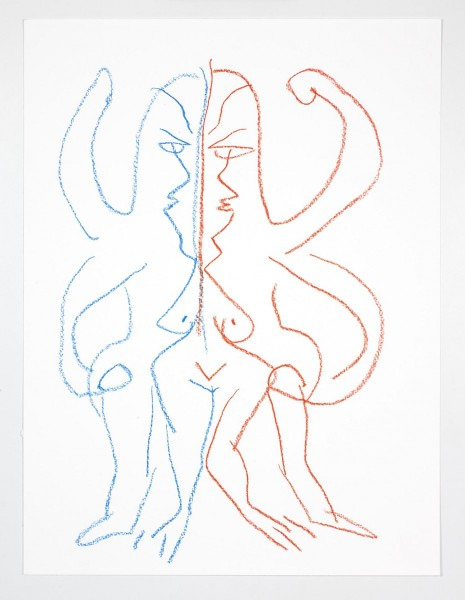 "Camille Henrot, ""Drawing with Both Hands"". Red and blue crayon on paper, 50.8 x 38.1 cm / 58.4 x 45.1 cm (framed). Courtesy the artist and Metro Pictures, New York"