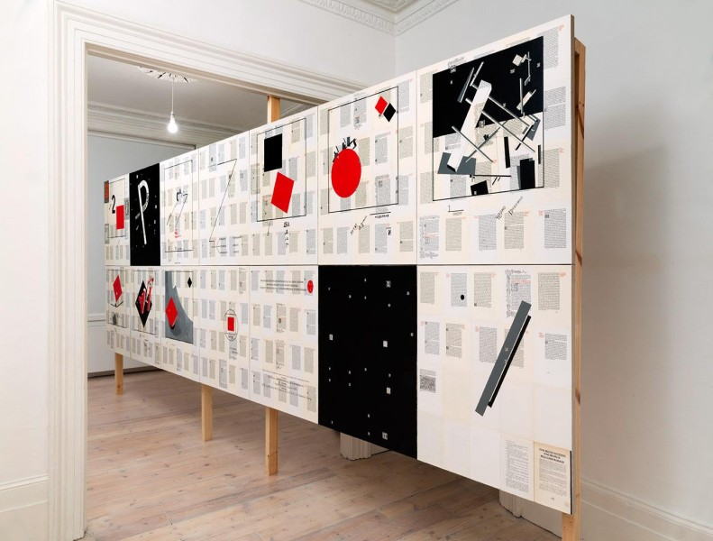 About Two Worlds, acrylic paint, varnish, pencil, facsimiles of El Lissitzky's About Two Squares and William Morris' Kelmscott Press The Wood Beyond the World mounted on linen, Handel Street Projects, London, 2016. Photograph: Peter White