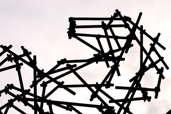 Ben Long, Horse Scaffolding Sculpture, installation view, The Economist Plaza, London, 2009. Photo: Matthew Blaney