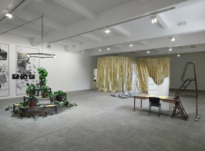Céline Condorelli, 2014, installation view at Chisenhale Gallery. Photo: Andy Keate. Commissioned by Chisenhale Gallery for How to work together a shared project with The Showroom and Studio Voltaire.