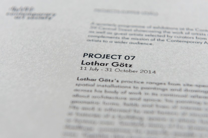 PROJECT 07: Lothar Götz, 2014. Photo: Joe Plommer