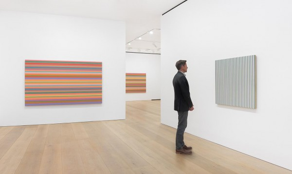 Bridget Riley,The Stripe Paintings 1961 – 2014, installation view,  David Zwirner, London. Image courtesy David Zwirner, © the artist.