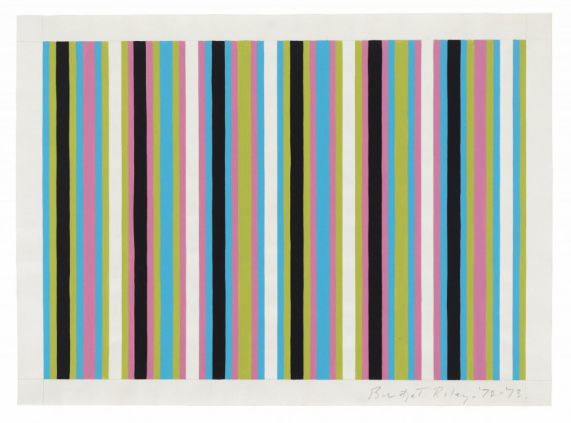Bridget Riley, Untitled [Related to 'Clandestine' and 'Cantus Firmus'], 1972-1973, pencil and gouache on paper, 38 x 52 cm, private collection, © Bridget Riley 2014. All rights reserved. Courtesy David Zwirner, London