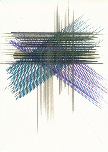 Lothar Götz, Untitled, pencil and colour pencil on card, 29cm x 21cm, 2014. Image courtesy: DOMOBAAL, © the artist