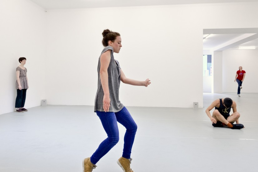 Yvonne Rainer: Dance Works, Raven Row, 2014. Trio A, 1966, dancers in training with Pat Catterson and Yvonne Rainer, July 2014. Photo: Eva Herzog