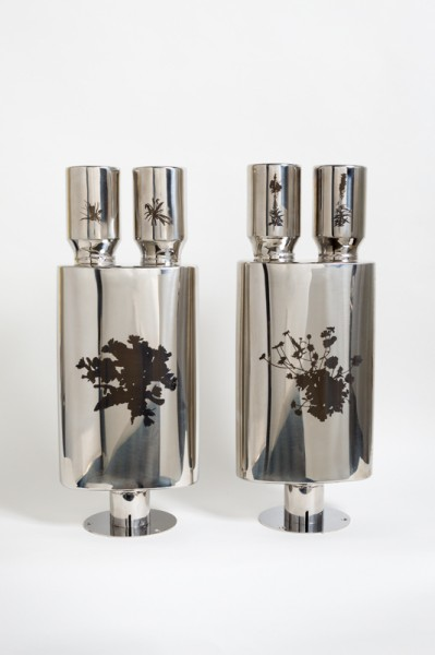 Poker Smoker Mantel Pieces, laser etched stainless steel back box silencer on nickel-plated stand, 58.5 x 23 x 12.75cm each, 2013, © the artist, photograph Peter Abrahams / Lucid Plane