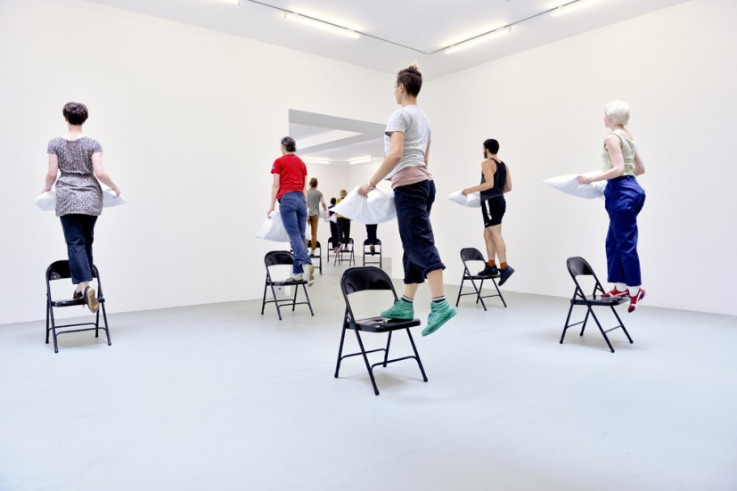 Yvonne Rainer: Dance Works, Raven Row, 2014. Chair Pillow, 1969, dancers in training with Pat Catterson and Yvonne Rainer, July 2014. Photo: Eva Herzog