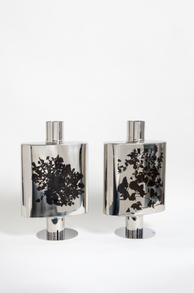 Particle 10 Mantel Pieces, laser etched stainless steel back box silencer on nickel-plated stand, 40.75 x 25.5 x 11.5cm each, 2013, © the artist, photograph Peter Abrahams / Lucid Plane