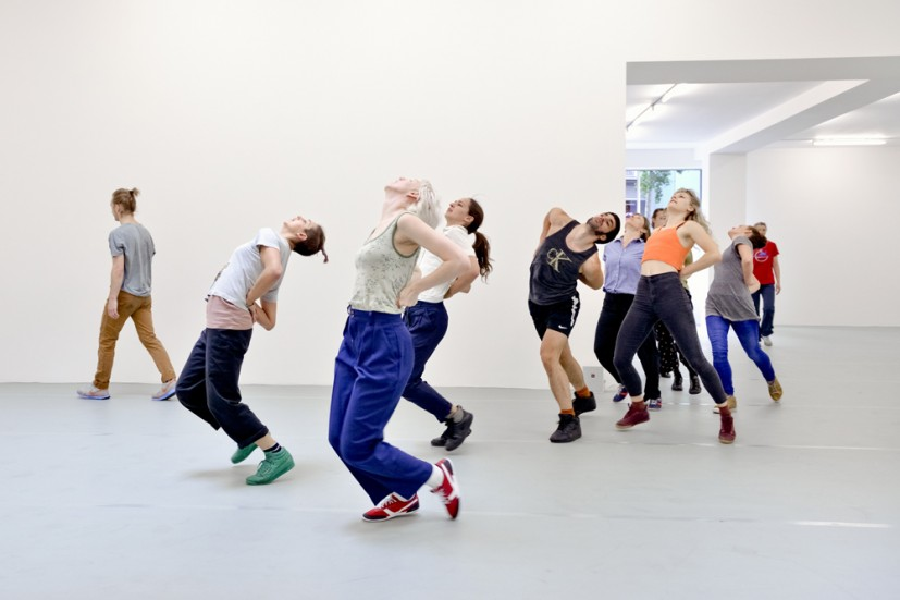 Yvonne Rainer: Dance Works, Raven Row, 2014. Diagonal (part of Terrain), 1963, dancers in training with Pat Catterson and Yvonne Rainer, July 2014. Photo: Eva Herzog
