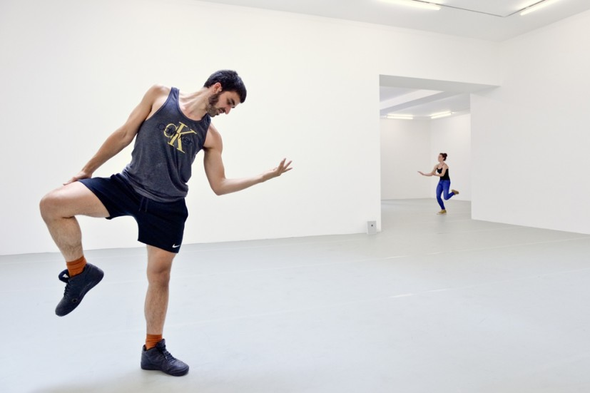 Yvonne Rainer: Dance Works, Raven Row, 2014. Talking Solo (part of Terrain), 1963, dancers in training with Pat Catterson and Yvonne Rainer, July 2014 Photo: Eva Herzog