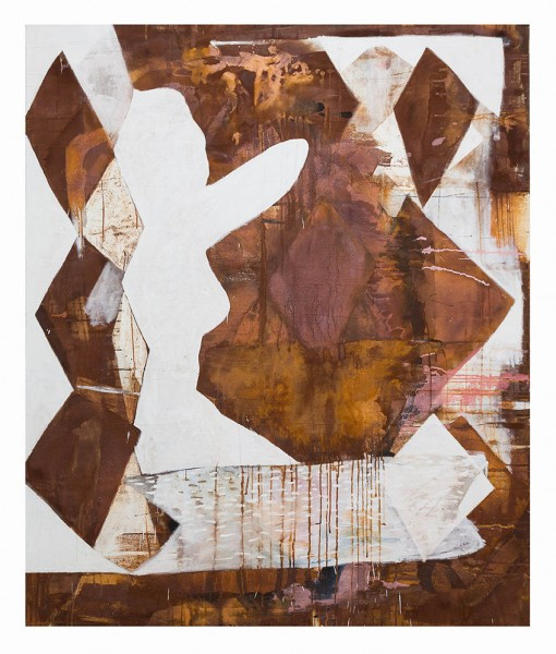 Alastair McKinven, Platonic Floater, 2014, oil and iron pigment on canvas, 180 x 150cm. Image courtesy the artist and The Approach, London