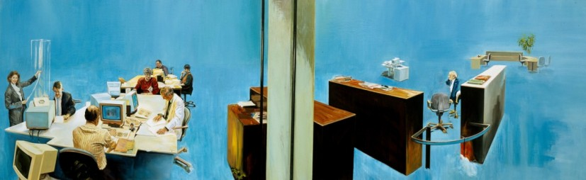 G-BRECHT, Solution, oil on canvas, 140 x 450cm, 2002, image courtesy the artist