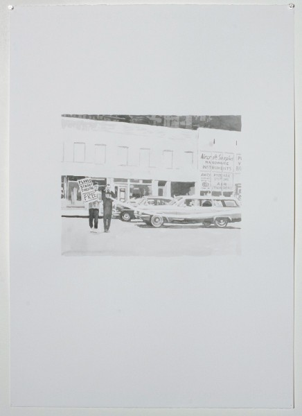 Untitled (Ben) (2010),  Watercolour on paper,  50 x 70cm, From the series 1968 and Other Myths (2010-12). Image courtesy Magnus Quaife and WORKS PROJECTS