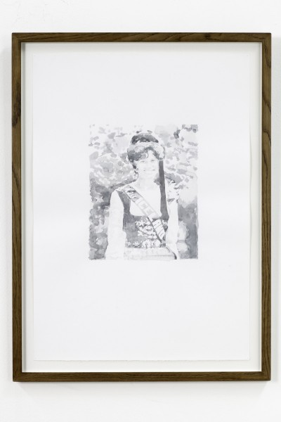 Untitled (Miss Iceland) (2010), Watercolour on paper, 50 x 70cm, From the series 1968 and Other Myths (2010-12), Image courtesy Magnus Quaife and WORKS|PROJECTS