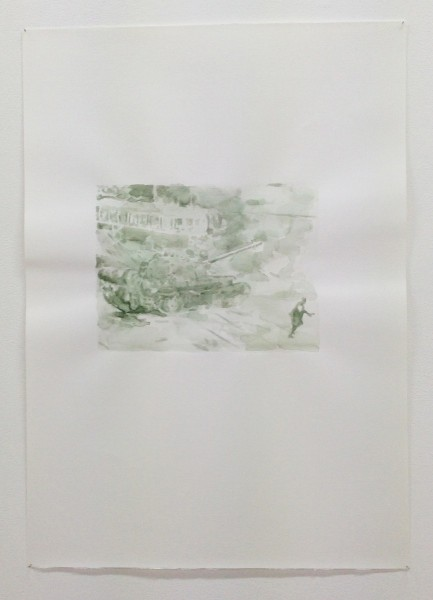 Untitled (Prague Tank) (2010), Watercolour on paper, 50 x 70cm, From the series 1968 and Other Myths (2010-12). Image courtesy Magnus Quaife and WORKS|PROJECTS