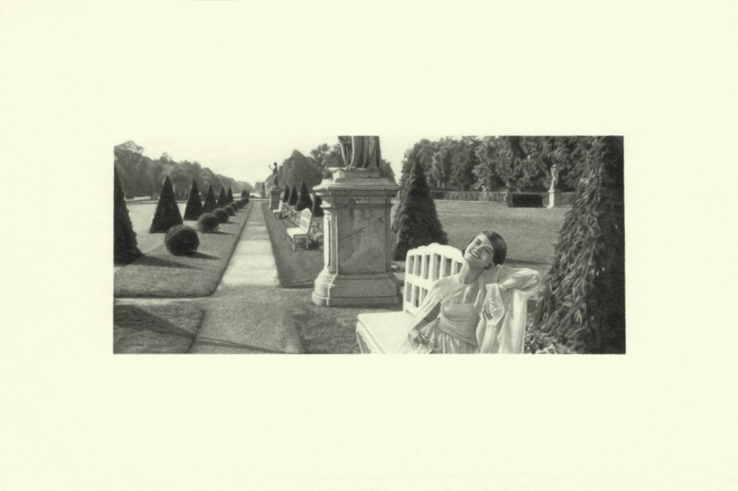 Bench, from the Marienbad series, pencil on paper, image size 4.45 x 10.4cm, paper size 10 x 15cm, 2015. Image courtesy the artist and Alan Cristea, London, © the artist