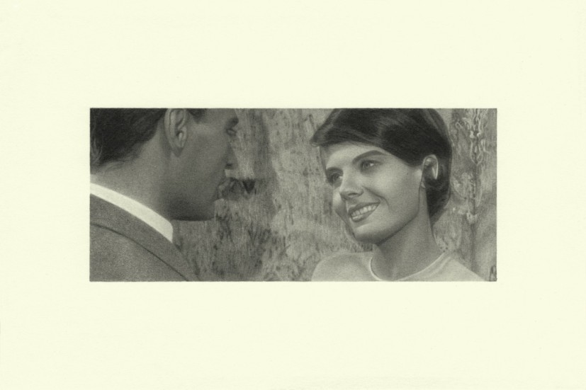 Smile, from the Marienbad series, pencil on paper, image size 4.45 x 10.4cm, paper size 10 x 15cm, 2015. Image courtesy the artist and Alan Cristea, London, © the artist