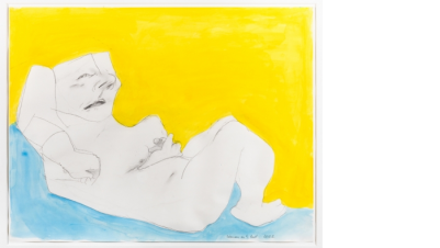 Image: Maria Lassnig, Woman in the Bed, 2002 Pencil and watercolour on paper, 50.2 x 64.1cm Private collection, New York.