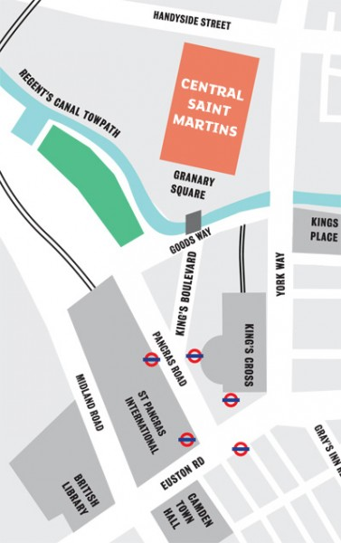 Map of Central Saint Martin's at King's Cross, London