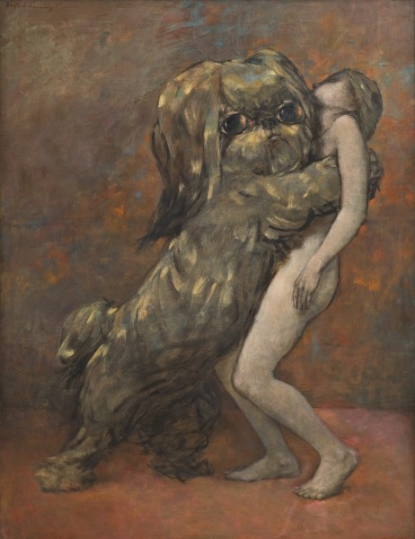 Dorothea Tanning, Tableau vivant (Living Picture), 1954, oil on canvas, © The Estate of Dorothea Tanning. Courtesy The Dorothea Tanning Foundation and Alison Jacques Gallery, London. Photograph: Michael Brzezinski