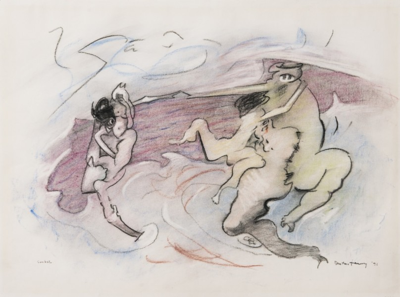 Dorothea Tanning, Combat, 1971-86, charcoal and pastel on paper, © The Estate of Dorothea Tanning. Courtesy The Dorothea Tanning Foundation and Alison Jacques Gallery, London. Photograph: Michael Brzezinski