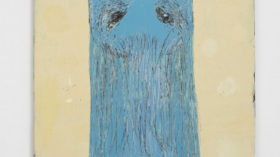 Nel Aerts, Frau Blau, 2014. Acrylic on wood, 122 x 81.5 cm. Courtesy of Carl Freedman Gallery, London