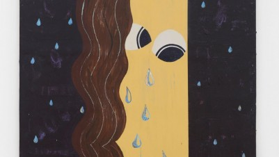 Nel Aerts, Lady Teardrop, falling from the black sky, 2014. Acrylic on wood, 81.5 x 68.5 cm. Courtesy of Carl Freedman Gallery, London
