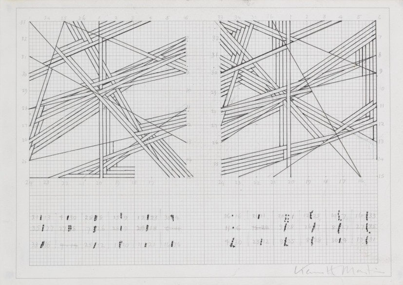 Kenneth Martin, Chance, Order, Change (2 drawings), 1978, pencil and ink on paper, 21.5 x 29.5 cm, © The estate of Kenneth Martin. Image courtesy of Annely Juda Fine Art, London