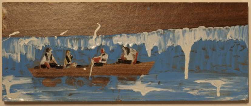 Phill Hopkins, Cameron and Merkel in a Boat #3, 2014, gloss paint, varnish and emulsion paint on found melamine on chipboard. Image courtesy the artist
