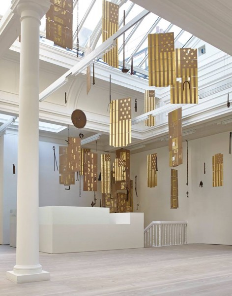 Danh Vō, Untitled (2015), gold, cardboard, various iron and wood farm tools, dimensions variable. Courtesy the Artist and Marian Goodman Gallery