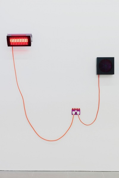 Natalie Dray, Infrared Fuchsia, 2015, Lamp holder, Ruby Jacketed Lamp,Ceramic Connector,1.5mm 3 core butyl flex, M20 Cable Gland, Rugged Plug Top, Powder coated Steel, Stainless steel + universal burning position, 1500W Face-Lift Contactum V1, 2015, 2 Gang Double Switched Socket, Aluminium, Brass, Steel, Powder Coat + 2 pole and thermoset + 25 year guarantee, replaceable, 220-250V Cool Neutral, 2015, 5 Bladed Dynamic Aluminium Fan, Multifit Motor, 3 core 1mm Flex, Rugged Plug Top, Powder Coated Steel + extended life, 1300rpm 10W / 50Hz. Image courtesy the artist and Cell Project Space, London. Photo: Mariell Amélie