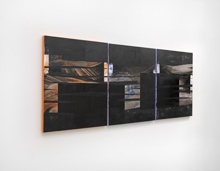 Mary Ramsden, Hold Still, 2015, oil on board, three panels: 76 x 61 x 3.5cm (each) / 76 x 183cm (overall). Courtesy of the artist and Pilar Corrias Gallery. Photo: Ken Adlard.
