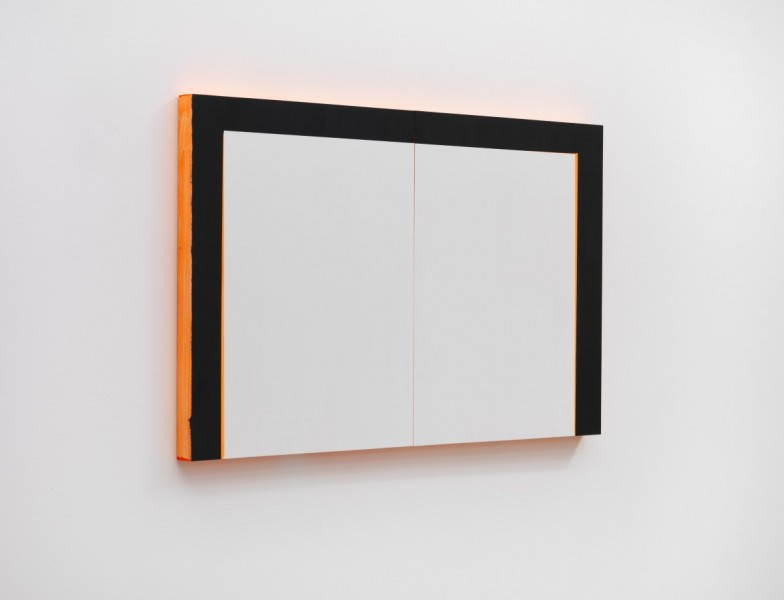 """Mary Ramsden,.""""...this television is just a large, broken radio with abstract art on the front."""", 2015, oil on board, two parts: 50 x 40 x 3.5cm (each), 50 x 80 x 3.5cm (overall). Courtesy the artist and Pilar Corrias Gallery. Photo: Ken Adlard."""