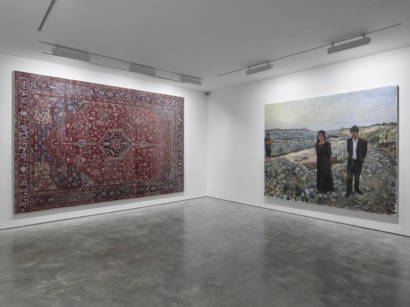 left: Rashid Rana, Red Carpet 5, c-print + diasec, 436.8 x 294cm, 2008-12 edition 1 of 5, right: Liu Xiaodong, West, oil on canvas, 300 x 250cm, 2012. Cross Section of a Revolution, installation view, 2015. © the artists, Courtesy Lisson Gallery.