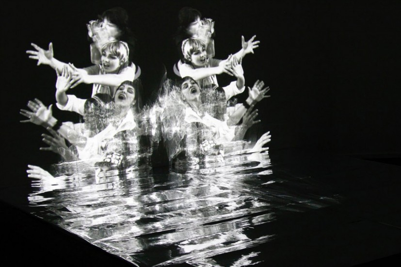 Kaleidoscopic sculpture, video-Installation, 4 min loop, projection on wall & stage with mirror,approx. 240 x 240 x 180 x 180cm, 2008. Image courtesy the artist, © the artist