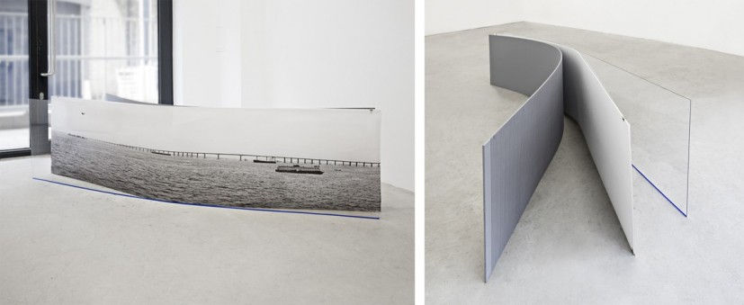 The place here (9), perspex, tape, archival pigment print, mdf boards, clips, 240 x 60 x 60cm, edition of 5, 2014. Image courtesy the artist, © the artist