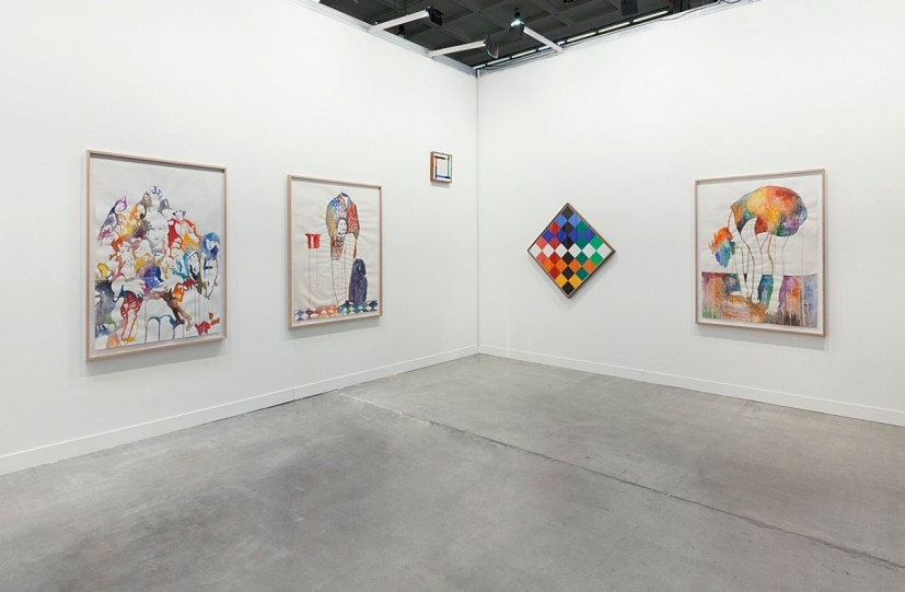 Ulla von Brandenburg, Pilar Corrias' miart Booth detail 2015. Works include Puppen (Puppets), Mann ohne Kopf (Man without head), Beuge (Bow), watercolour on paper, 2015. © the artist, courtesy Pilar Corrias, London. Photo: Andrea Rossetti