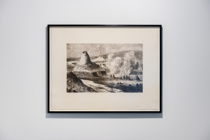 Salvatore Arancio, A Rain Eroded Pillar Beside Black Caravels Floating on a Sea of Fire, 2013, photo-etching on paper, edition of 2, 91.5 x 71cm frame size, 61 x 39cm image size. © the artist, Photo: Joe Plommer
