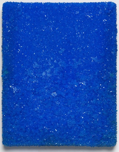 Roger Hiorns, Untitled, 2015, copper sulphate on canvas, 31 x 25 x 3.5cm. Courtesy Corvi-Mora, London. Photography Marcus Leith, London.
