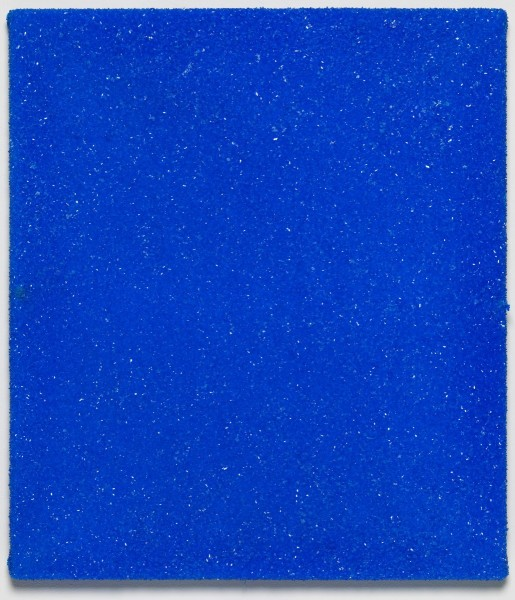 Roger Hiorns, Untitled, 2015, copper sulphate on canvas, 61 x 51 x 3.5cm. Courtesy Corvi-Mora, London. Photography Marcus Leith, London.